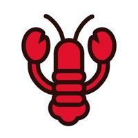 lobster seafood line and fill style vector