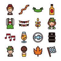 bundle of sixteen oktoberfest set collection icons vector