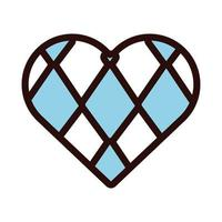 heart with oktoberfest flag line and fill style icon vector