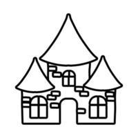 halloween dark castle line style icon vector