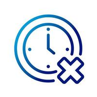 time clock with x gradient style icon vector