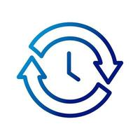 time clock with arrows reload gradient style icon vector