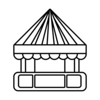 tent kiosk mechanical fairground attraction line style icon vector
