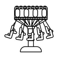 chairs flying mechanical fairground attraction line style icon vector
