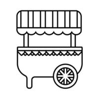 icono de estilo de línea de carrito de quiosco justo vector
