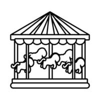 carousel mechanical fairground attraction line style icon vector
