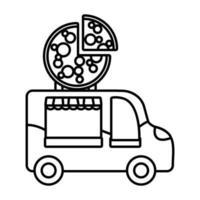 pizza fair car line style icon vector