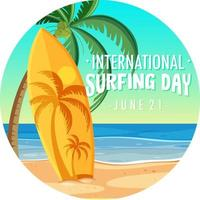 International Surfing Day font with surfboard on the beach banner isolated vector