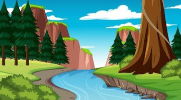 Nature scene with stream flowing through the forest vector