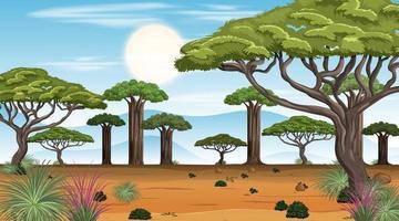 escena del paisaje del bosque de la sabana africana durante el día vector