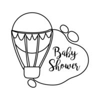 baby shower lettering with balloon air hot line style vector