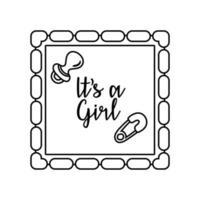 tarjeta de marco de baby shower con chupete y letras es un estilo de línea de niña vector