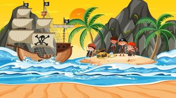 Treasure Island scene at sunset time with Pirate kids vector