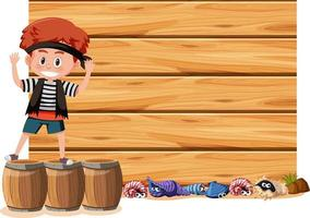 A pirate boy with an empty banner isolated on white background vector