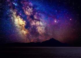 Milky Way galaxy above holy mountain Athos, Greece photo
