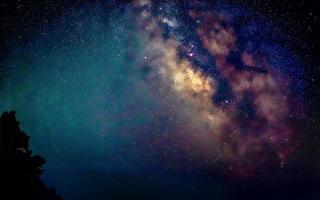 Center of Milky Way galaxy on dark night sky photo