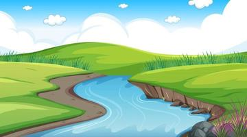 Nature forest landscape at daytime scene with long river flowing through the meadow vector