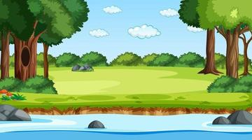 Nature forest landscape at daytime scene with river flowing through the forest vector