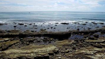 A scenic rocky beach coastline. video