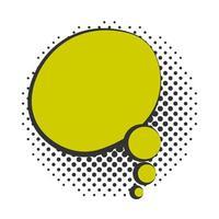 pop art speech bubble colored cloud halftone style flat design white background vector