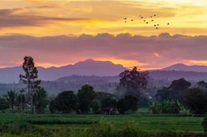por la noche, el cielo dorado, vistas a la montaña en chiang mai tailandia foto