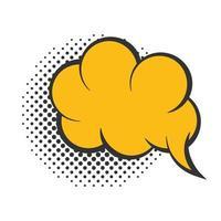 pop art speech bubble yellow cloud halftone style flat design white background vector