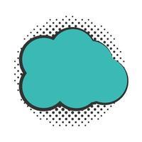 pop art cloud speech bubble halftone style flat design white background vector