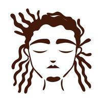 Joven afro de etnia con icono de estilo de silueta de estilo de pelo rasta vector