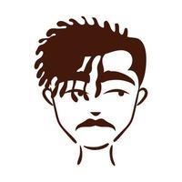 Joven afro de etnia con mechón y bigote icono de estilo de silueta vector