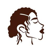 joven, mujer afro, con, pelo corto, silueta, estilo vector