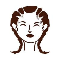 young afro woman with hair braids silhouette style vector