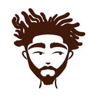 joven, hombre afro, etnia, con, barba, silueta, estilo, icono vector
