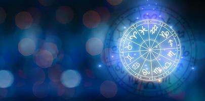signos del zodíaco dentro del círculo del horóscopo. astrología en el cielo con muchas estrellas y lunas concepto de astrología y horóscopos foto