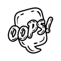 speech bubble with expresion oops word pop art line style vector