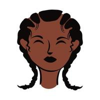 young afro woman with hair braids flat style vector