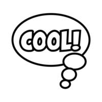speech bubble with expresion word cool pop art line style vector