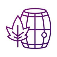 wine wooden barrel with leaf gradient style icon vector