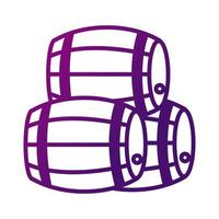 pile of wine wooden barrels gradient style icon vector