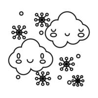 clouds sky with snowflakes kawaii comic character line style vector