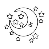 happy crescent moon with stars kawaii character line style vector