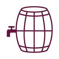 wine wooden barrel with tap line style icon vector
