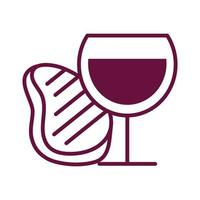 wine cup and meat steak line style icon vector