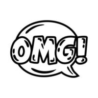 speech bubble with expresion omg word pop art line style vector