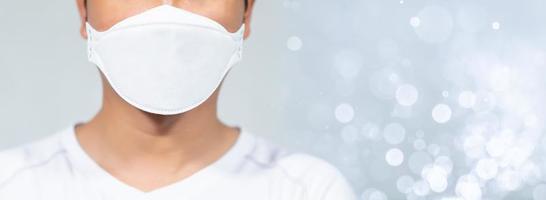 Men wearing masks to protect the coronavirus covid-19 photo