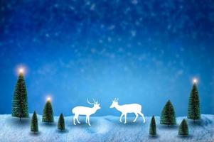 Merry christmas and happy new year greeting background. Christmas Lantern On Snow With Fir photo