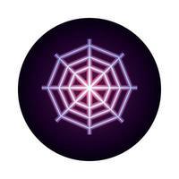 spider web icon on white background neon icon style design vector