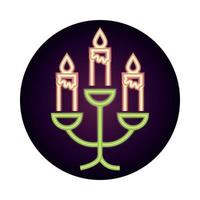chandelier with burning candles decoration ornament neon icon style vector