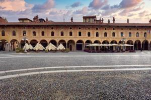 View of the world-famous renaissance square in the old city centre of Vigevano photo