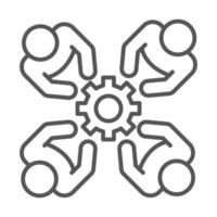 people team together cooperation coworking office business workspace line icon design vector