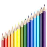 Representación 3D de lápices de colores sobre fondo blanco. foto